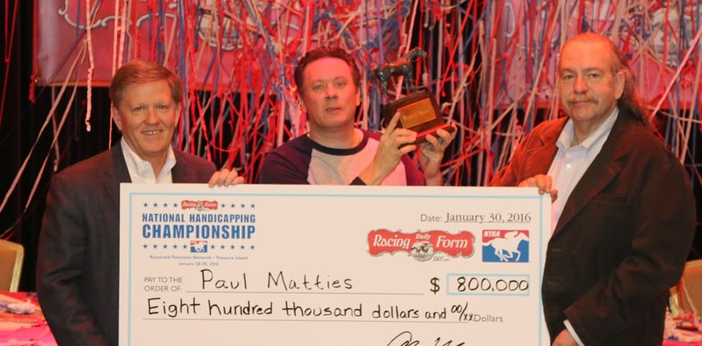 Paul Matties wins the 2016 National Handicapping Championship at Treasure Island, Las Vegas, NV 1.30.2016.