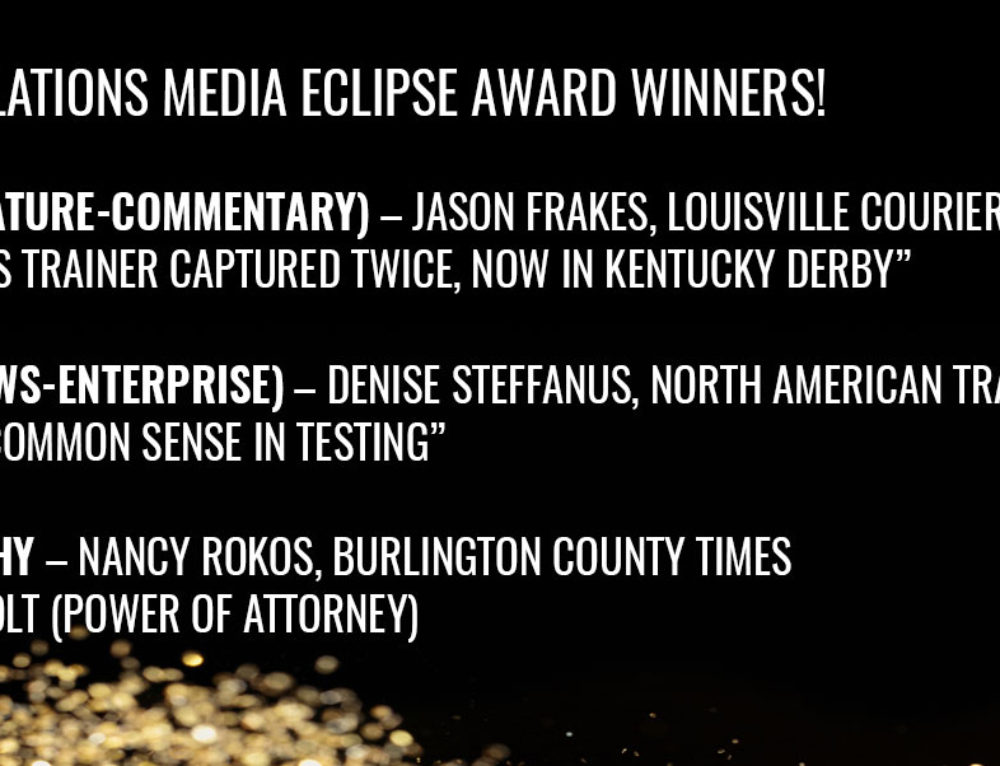 Frakes, Steffanus Win Media Eclipse Awards for Writing; Rokos Wins Award for Photography